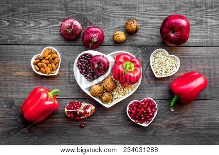 Proper Nutrition For Pathients With Heart Disease. Cholesterol Reduce Diet. Vegetables, Fruits, Nuts