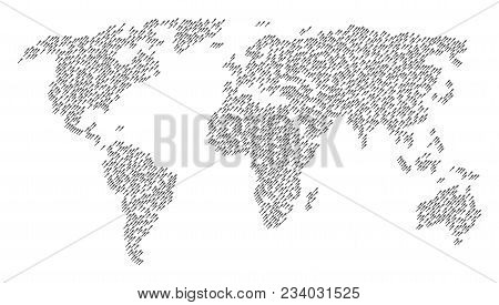 World Collage Map Made Of Fork Pictograms. Vector Fork Scatter Flat Elements Are Organized Into Geom