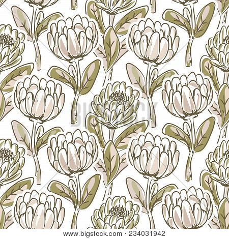 Hand Drawn Protea Flower Seamless Vector Pattern. Artistic Floral Nature Green Background.