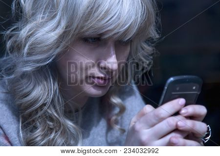 Mobile Money Transfer. Young Busines Woman Working Remotely And Sending Money By Phone. (freelancer,