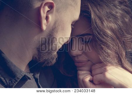 Close Up Of Young Loving Sensual Couple Touching Forehead With Closed Eyes, Enjoying Intimacy Tender