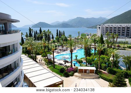 Marmaris, Turkey - May 20: The Tourists Enjoing Their Vacation In Luxury Hotel On May 20, 2013 In Ma