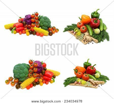 Fresh Vegetables And Greens On A White Background. Horizontal Photo.