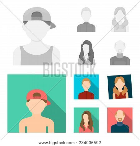 Boy Blond, Bald Man, Girl With Tails, Woman.avatar Set Collection Icons In Monochrome, Flat Style Ve