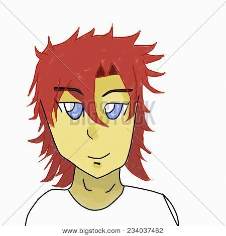 Anime Boy Blonde Hair, Character, On White Background With A Confident Smile, Anime Drawing