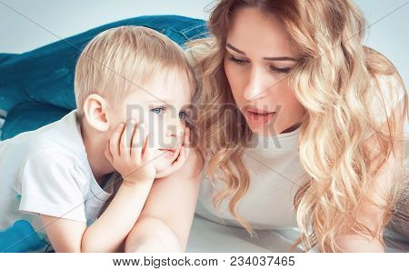 Mother And Little Boy, Raising Children. The Concept Of Family Education Of Children. Selective Focu