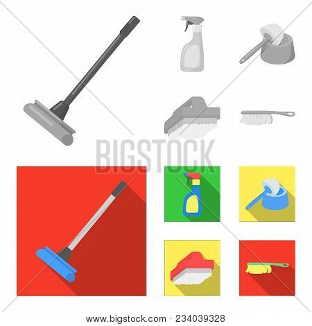 Cleaning And Maid Monochrome, Flat Icons In Set Collection For Design. Equipment For Cleaning Vector