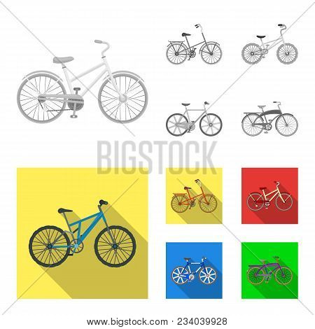 Children Bicycle And Other Kinds.different Bicycles Set Collection Icons In Monochrome, Flat Style V
