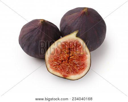 Sliced Fresh Figs On White Background. Ripe Sweet Fresh Organic Fruit