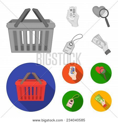 Hand, Mobile Phone, Online Store And Other Equipment. E Commerce Set Collection Icons In Monochrome,