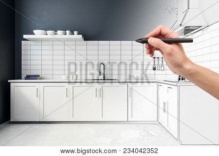 Hand Drawing Kitchen Interior. Engineering And Design Concept. 3d Rendering