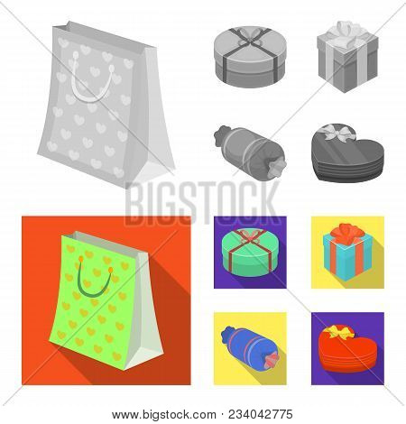 Gift Box With Bow, Gift Bag.gifts And Certificates Set Collection Icons In Monochrome, Flat Style Ve