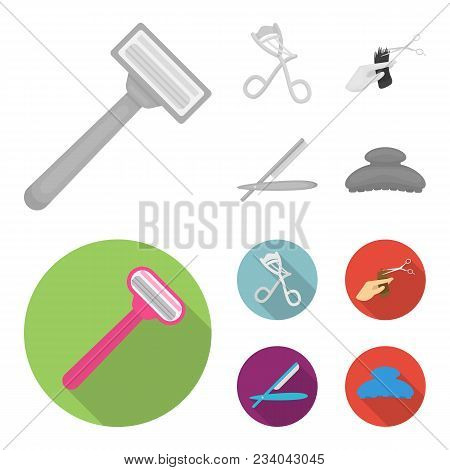 Scissors, Brush, Razor And Other Equipment. Hairdresser Set Collection Icons In Monochrome, Flat Sty