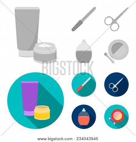 Nail File, Scissors For Nails, Perfume, Powder With A Brush.makeup Set Collection Icons In Monochrom