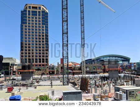 Phoenix, Az, Usa - March 30, 2018: Construction Site Of A New Building In Downtown Of Phoenix, Arizo