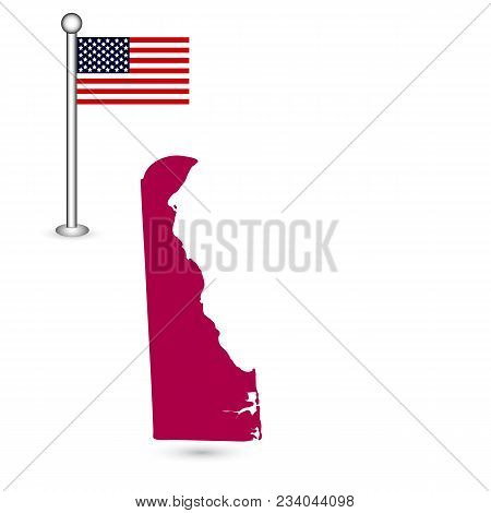 Map Of The U.s. State Of Delaware On A White Background. American Flag