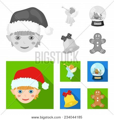 Angel, Glass Bowl, Gingerbread And Bell Monochrome, Flat Icons In Set Collection For Design. Christm