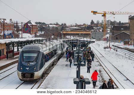 Naestved Denmark - March 1. 2018: Train At The Platform At Naestved Train Station In Denmark With Pe