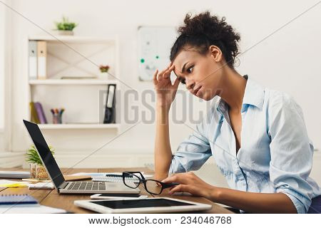 Deadline Stress Concept - Sad African-american Business Woman Sitting At Desktop In Office, Working
