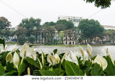 Hoan Kiem Lake With A Turtle Tower In The Middle Of The Lake, This Is The Heart Of Hanoi, Vietnam