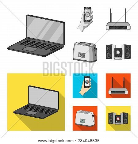 Home Appliances And Equipment Monochrome, Flat Icons In Set Collection For Design.modern Household A