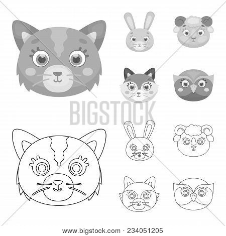 Cat, Rabbit, Fox, Sheep. Animal Muzzle Set Collection Icons In Outline, Monochrome Style Vector Symb