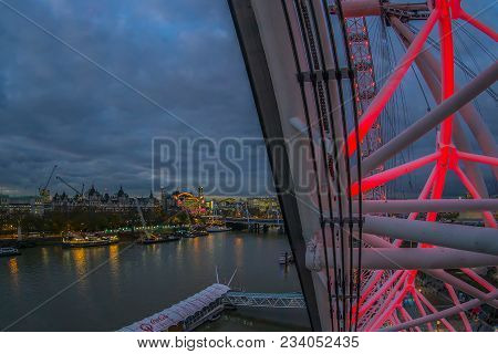 London, England - November 28, 2017: Part Of City Of London At Night View From London Eye Capsule Il