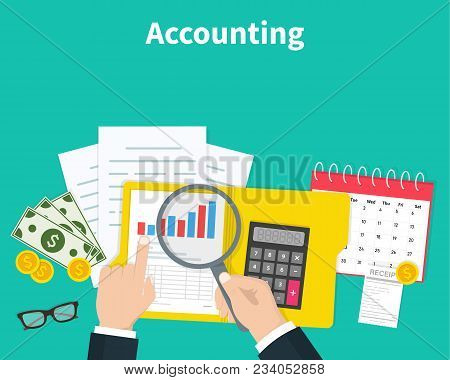 Accounting. Businessman Accounting, Planning Strategy, Analysis, Marketing Research, Financial Manag