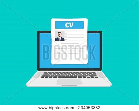Cv Resume. Job Interview Concept. Writing A Resume. Laptop With Personal Resume. Flat Cartoon Design