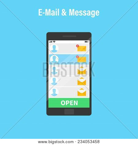 New Email. Human Hand Holding The Smartphone With E-mail Application. Mobile Phone, Screen With New