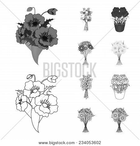 A Bouquet Of Fresh Flowers Outline, Monochrome Icons In Set Collection For Design. Various Bouquets