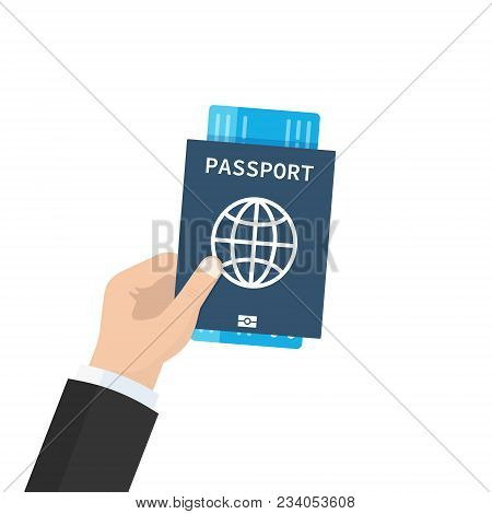 Passport With Tickets In Hand. Concept Travel And Tourism. Travel Documents. Flat Cartoon Design, Ve
