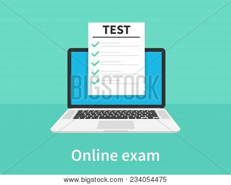 Online Exam, Laptop With Checklist, Taking Test, Choosing Answer, Questionnaire Form, Education Conc