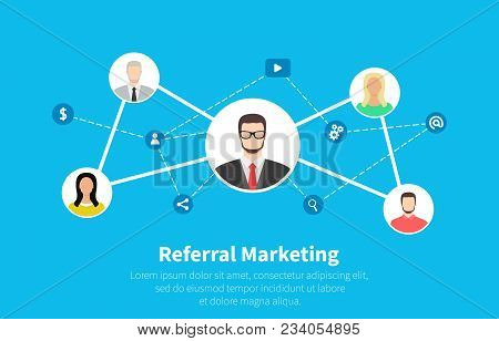 Referral Marketing, Network Marketing, Business Partnership, Referral Program Strategy. Flat Cartoon