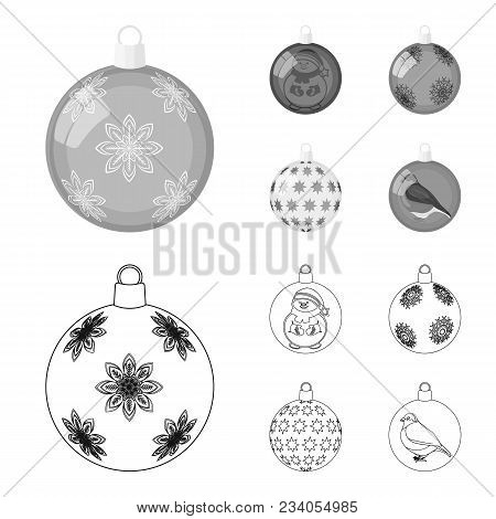 New Year Toys Outline, Monochrome Icons In Set Collection For Design.christmas Balls For A Treevecto