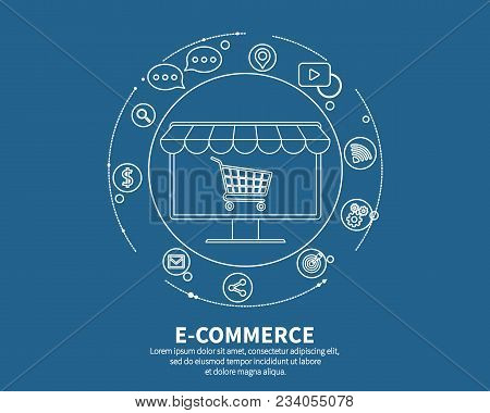 E-commerse Online Store. Business Concept. Banner Webpage Design With Shopping Cart And Sale Items I