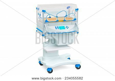 Neonatal Incubator, Isolette. 3d Rendering Isolated On White Background