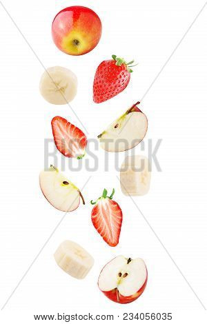 Isolated Falling Fruits. Falling Apple, Banana And Strawberry Fruit Isolated On White Background Wit