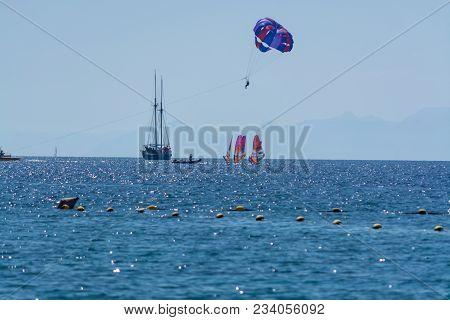 Group Of Windsurfers Is Red Sea Near Eilat, Israel