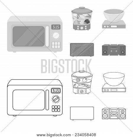 Steamer, Microwave Oven, Scales, Lcd Tv.household Set Collection Icons In Outline, Monochrome Style