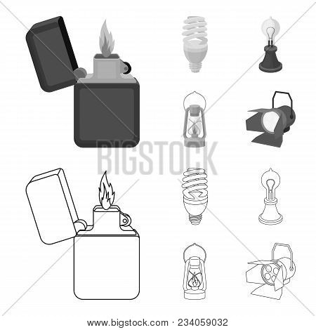 Lighter, Economical Light Bulb, Edison Lamp, Kerosene Lamp.light Source Set Collection Icons In Outl