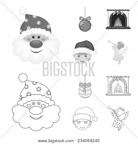 Santa Claus, Dwarf, Fireplace And Decoration Outline, Monochrome Icons In Set Collection For Design.