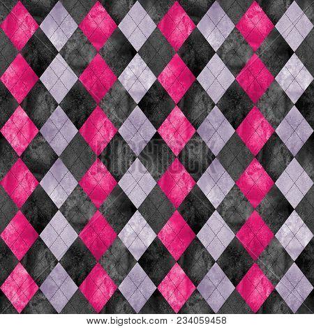 Argyle Seamless Plaid Pattern. Watercolor Hand Drawn Black Purple Pink Texture Background. Watercolo