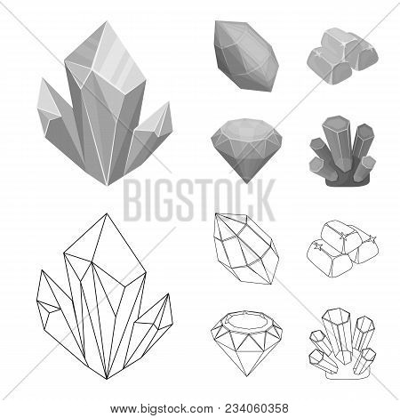 Crystals, Minerals, Gold Bars. Precious Minerals And Jeweler Set Collection Icons In Outline, Monoch