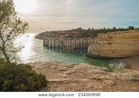Benagil Beach Caves In The Coastline Algarve Portugal