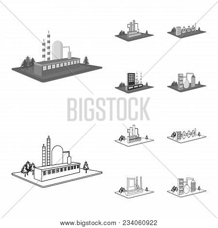 Processing Factory, Metallurgical Plant. Factory And Industry Set Collection Icons In Outline, Monoc