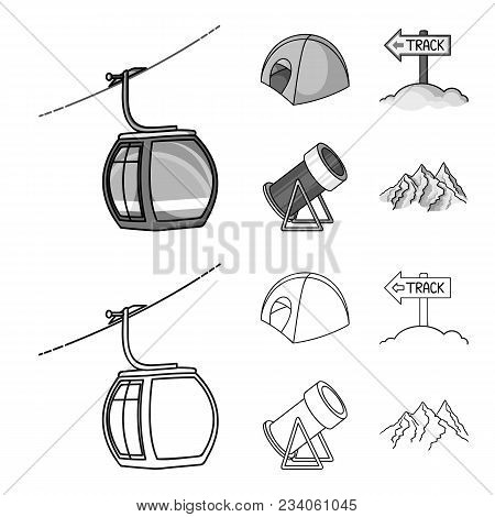 Funicular, Tent, Road Sign, Snow Cannon. Ski Resort Set Collection Icons In Outline, Monochrome Styl