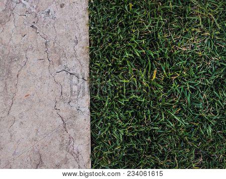 Top View Of Half Marble Half Grass