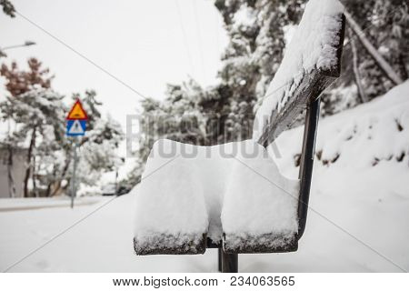 White snow covers a wooden bench. Wintertime, sky and nature at landscape with blurred snowy trees background. Close up view.