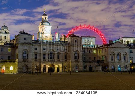 London, United Kingdom - March 26: This Is A Night View Of The Household Cavalry Museum And The Mill
